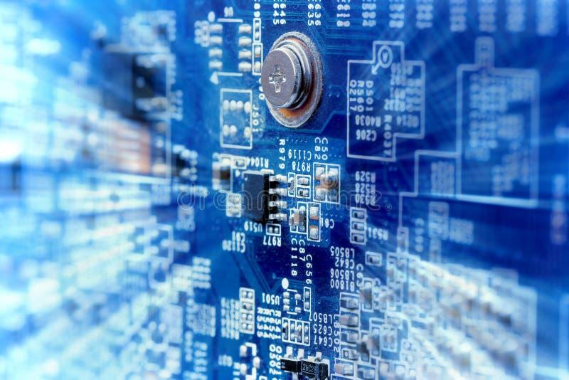 Close up da placa de circuito do computador fotografia de stock