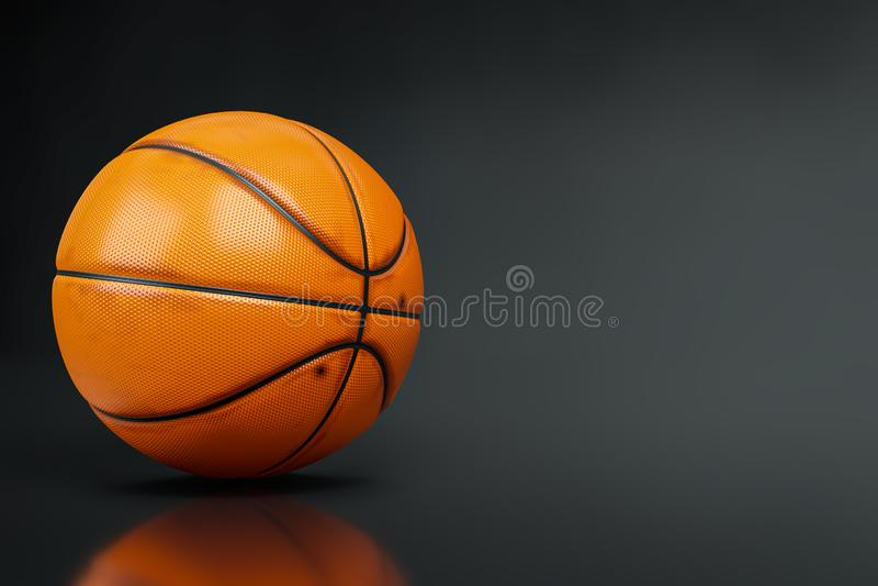 close-up da rendição 3d disparado do basquetebol no fundo escuro do tiro do estúdio, trajetos de grampeamento ilustração stock
