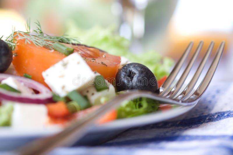 Close up da salada grega fotografia de stock royalty free