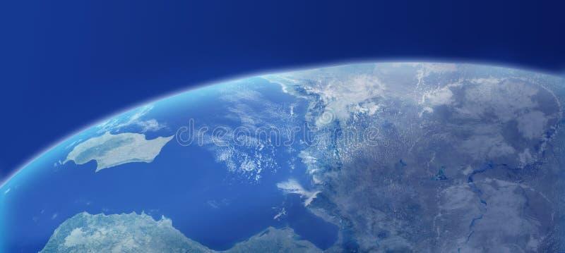 Close up da terra com atmosfera ilustração do vetor