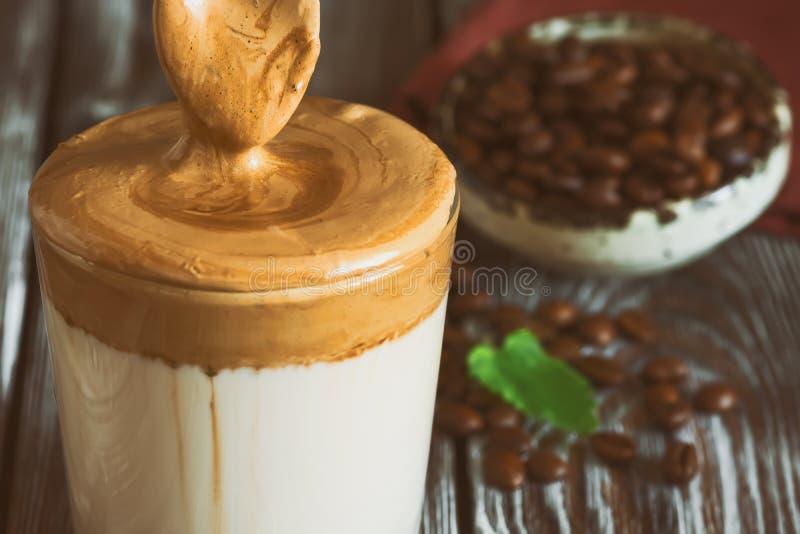 Close-up Dalgona Coffee, Korean Trendy Drink. Instant ...
