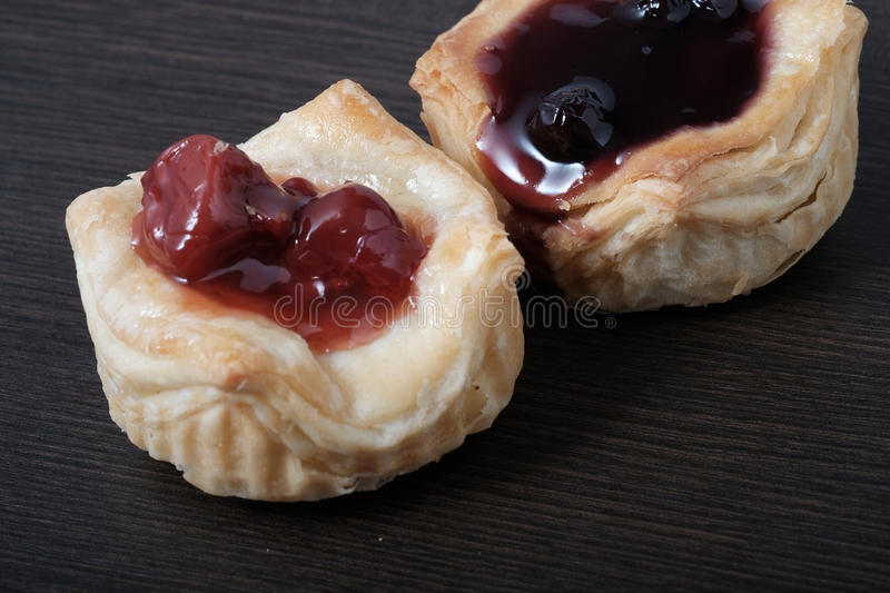 Close up Danish pastries. On table stock images