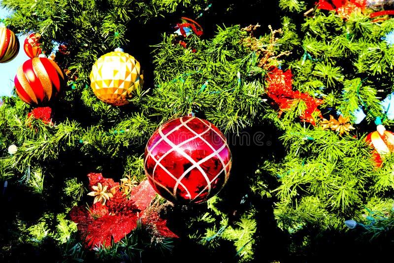 Close up das bolas da árvore de Natal que penduram em uma árvore fotografia de stock