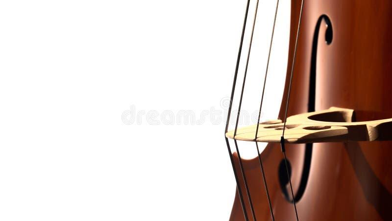 Close up das cordas, da ponte e de f do furo do violoncelo fotos de stock