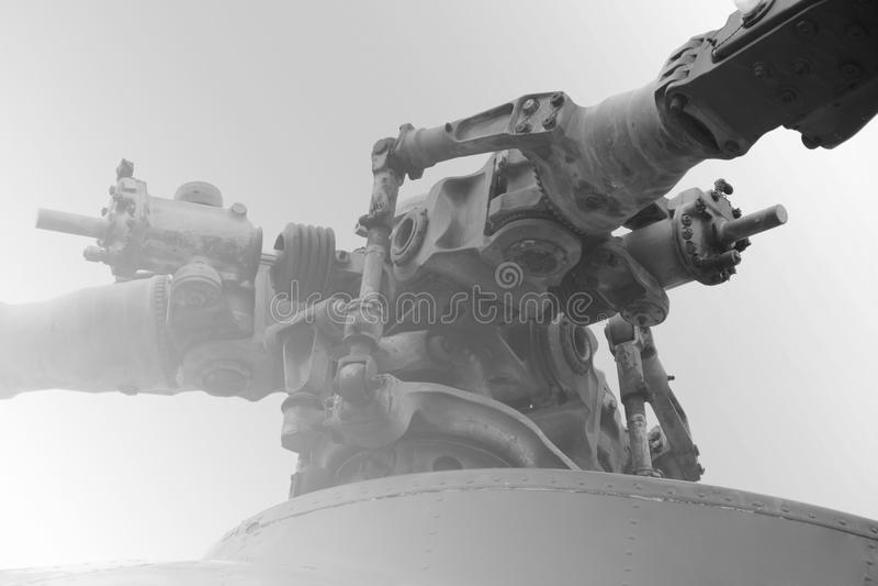 Close up das lâminas do helicóptero foto de stock