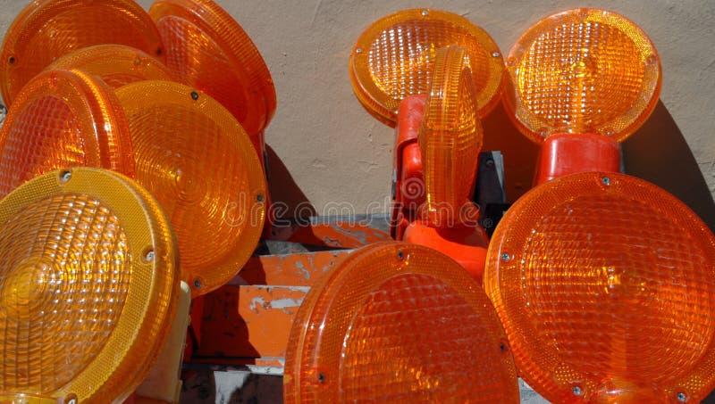 Close up das lentes em barricadas do tráfego foto de stock royalty free