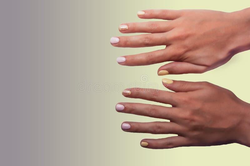 Close up das mãos de uma mulher com tratamento de mãos em pregos contra o fundo roxo do inclinação fotos de stock
