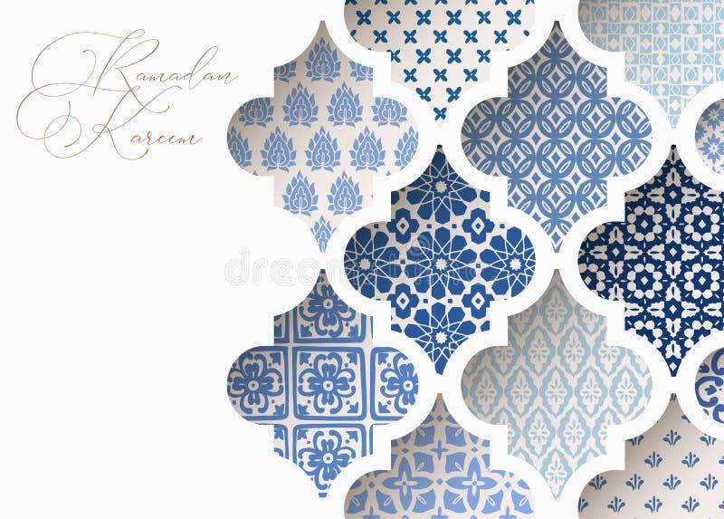 Close-up das telhas árabes decorativas azuis, testes padrões através da janela branca da mesquita Cartão, convite para muçulmanos ilustração stock