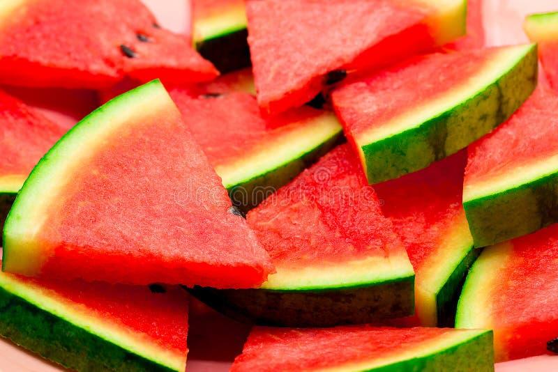 Close up de algumas partes de melancia de refrescamento foto de stock