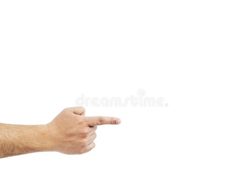 Close up de apontar masculino da mão Isolado no fundo branco imagem de stock royalty free