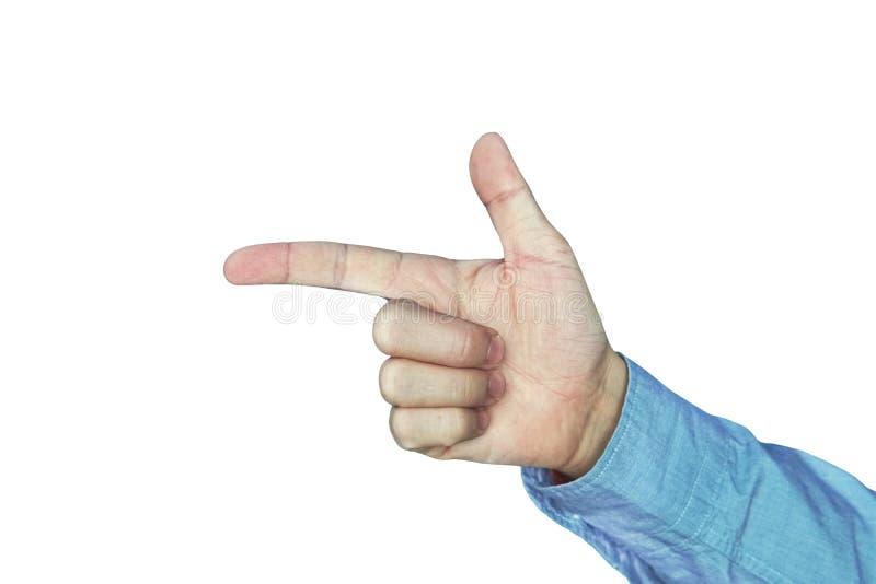 Close up de apontar masculino da m?o Isolado no branco dedos dobrados na forma de uma arma imagem de stock royalty free