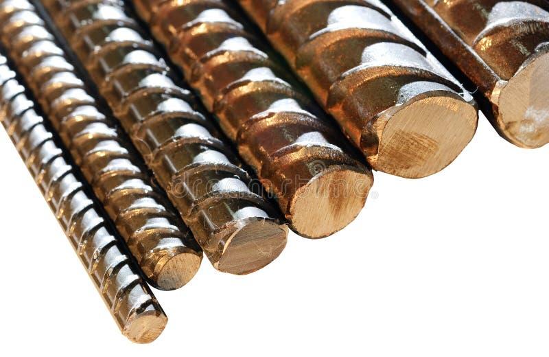 Close up de barras de aço deformadas fotografia de stock royalty free