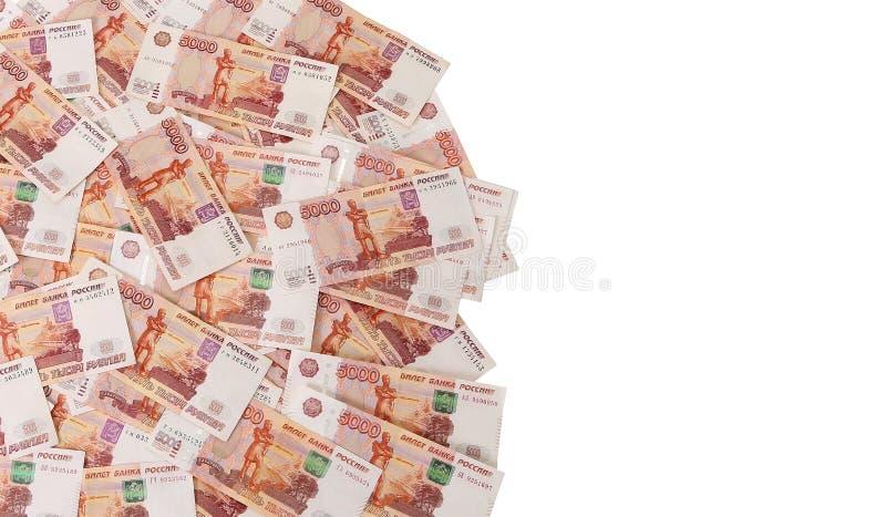 Close-up de cédulas do russo Cinco mil notas do rublo foto de stock royalty free