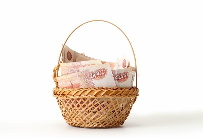 Close-up de cédulas do russo Cinco mil notas do rublo fotos de stock