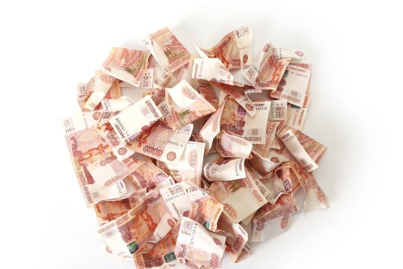 Close-up de cédulas do russo Cinco mil notas do rublo imagem de stock royalty free