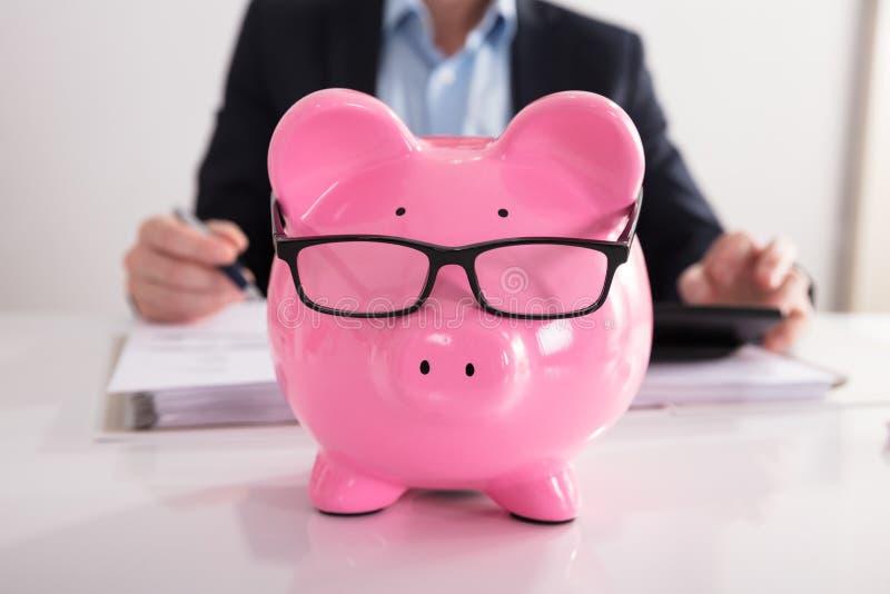 Close-up de espetáculos vestindo cor-de-rosa de Piggybank imagens de stock