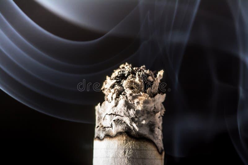 Close-up de fumo ardendo sem chama de queimadura do cigarro com o fumo bonito isolado no fundo preto fotografia de stock