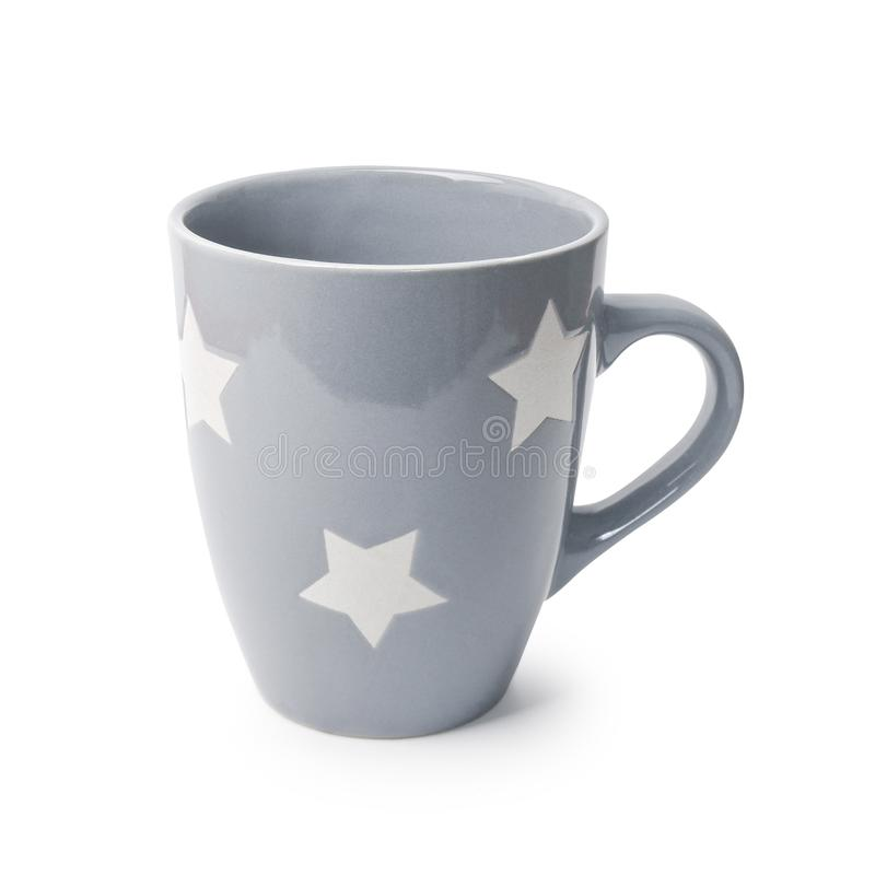 Close up de Grey Color Drink Cup Mock-Up Única placa vazia da caneca cerâmica para o café ou o chá Gray Mug com as estrelas isola fotos de stock