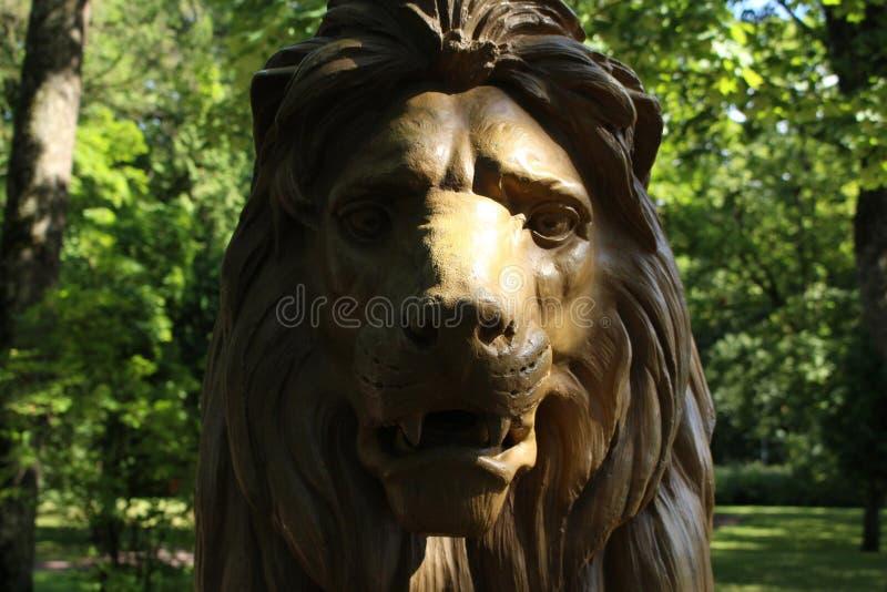 Close up de Lion Statue Head foto de stock royalty free