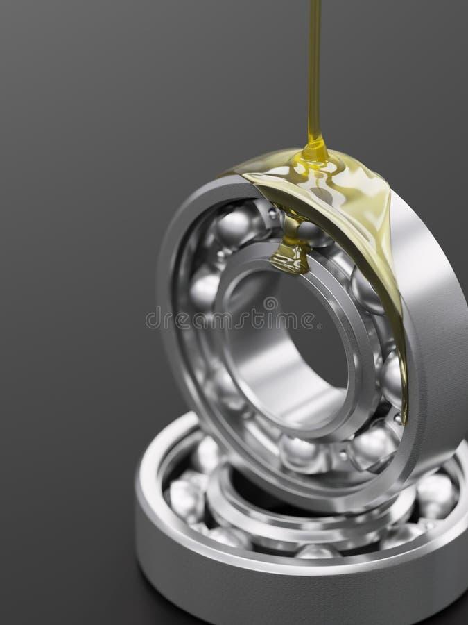 Close-up de lubrificação do rolamento de esferas na ilustração cinzenta do fundo 3d ilustração stock