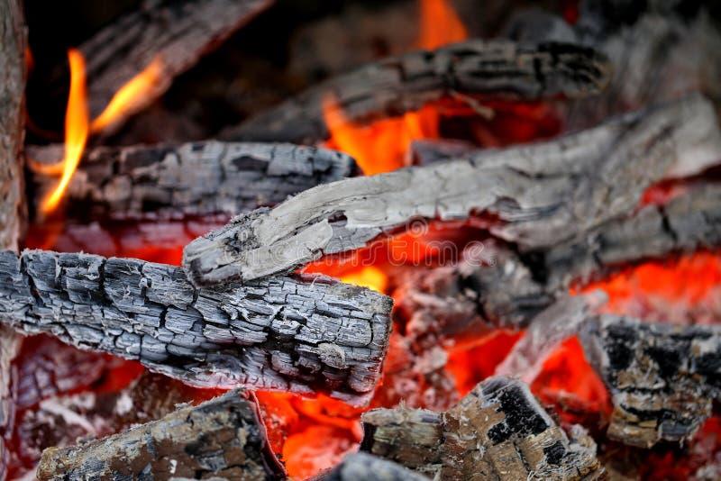 Close-up de madeira das brasas imagens de stock