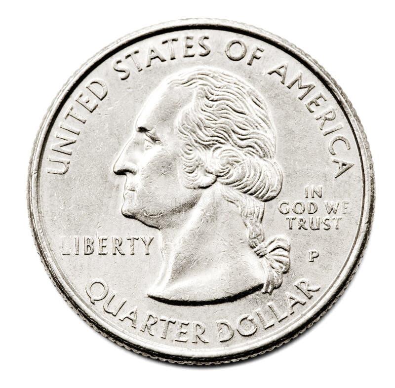 Close-Up de nós dólar de um quarto imagem de stock royalty free