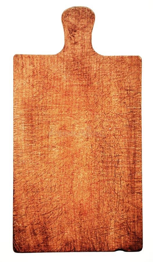 Close-up De Placa De Corte De Madeira Gasta, Isolado Imagem de Stock Royalty Free