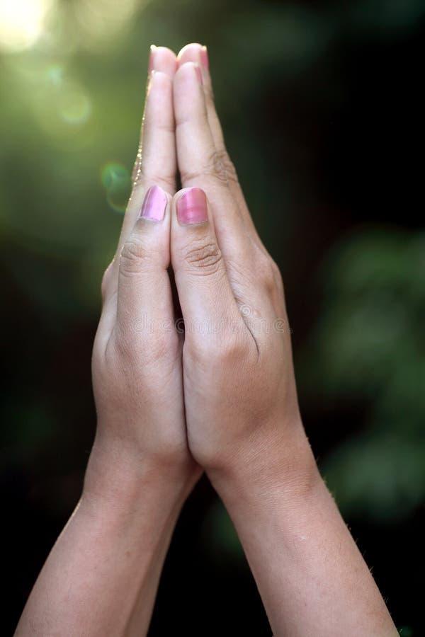 Close up de rezar as mãos foto de stock royalty free