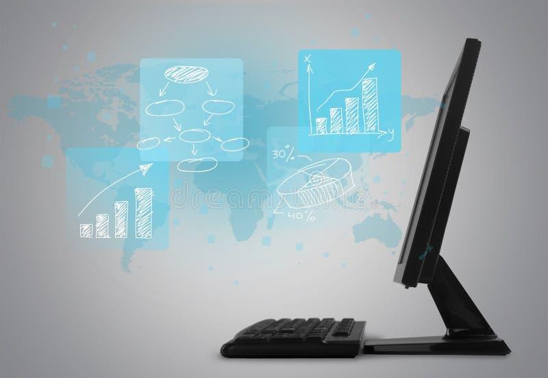 Close-up de sinais digitais com o computador no mapa imagens de stock