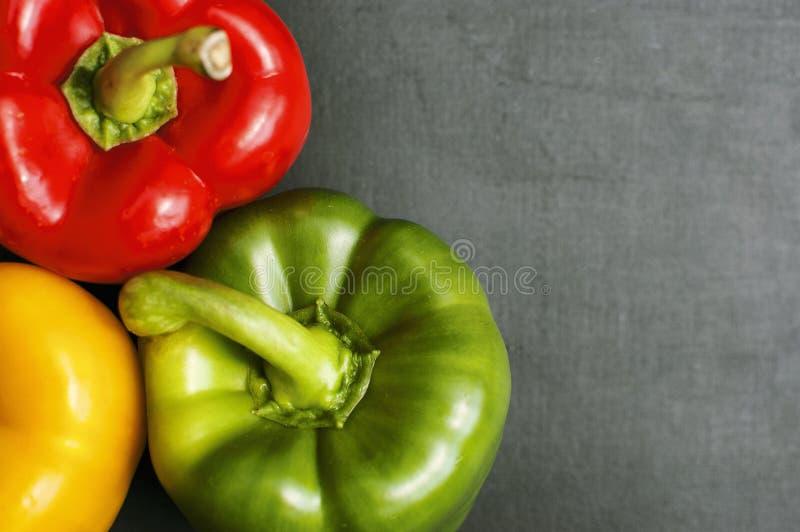 Close up de três pimentas de Bell fotos de stock