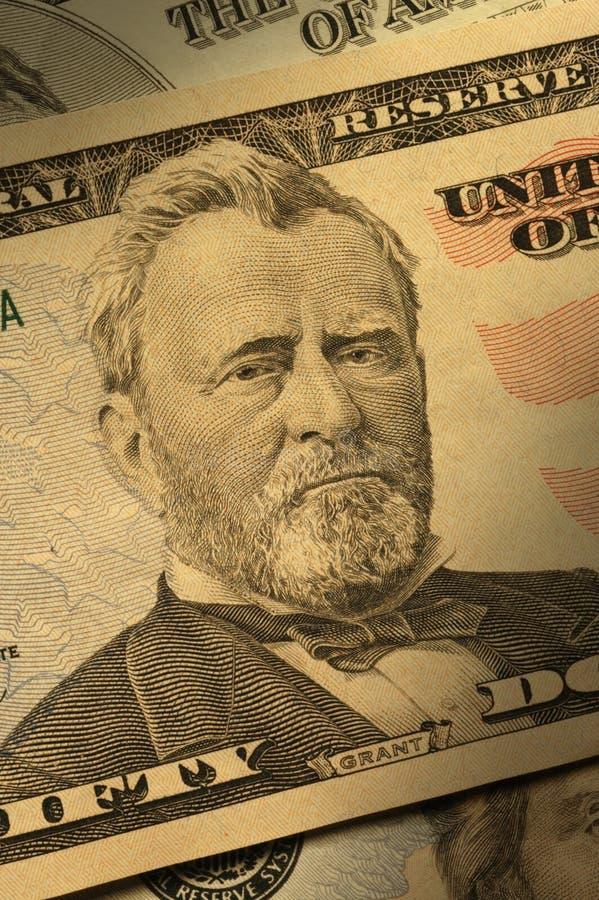 Close-up de Ulysses S. Grant na conta $50 imagens de stock royalty free