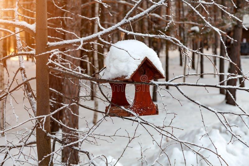 Close-up de um alimentador de madeira do pássaro do aviário coberto com uma grande camada de neve em um dia de inverno claro em u fotos de stock royalty free