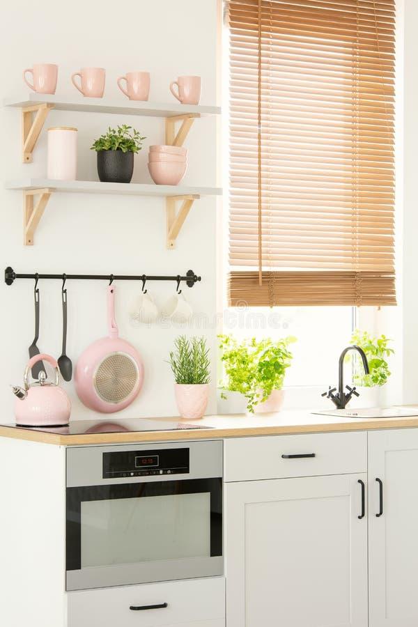 Close-up de um brilhante, interior da cozinha do scandi com kitchenw cor-de-rosa imagens de stock royalty free
