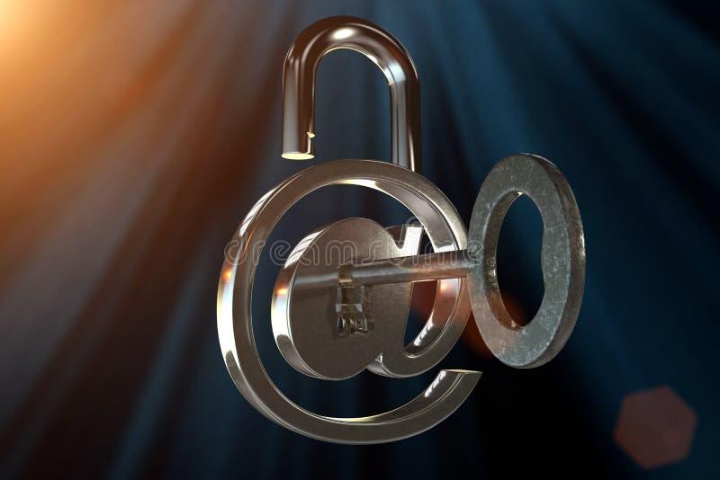 Close up de um correio no sinal como um cadeado com uma chave imagens de stock royalty free
