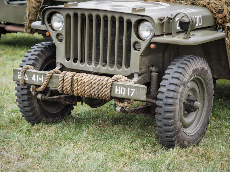 Close-up de um jipe militar Dunsfold ay fotografia de stock