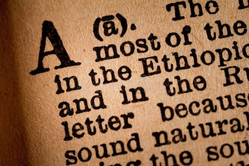 Close-up de um A, a ?a letra do alfabeto latino imagens de stock royalty free