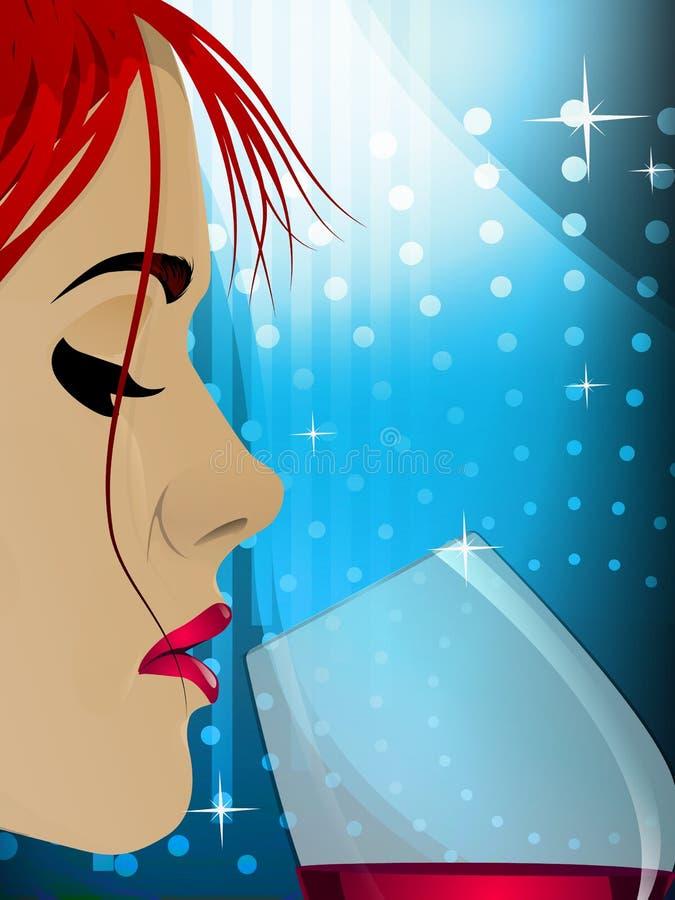 Close up de um vinho bebendo da mulher ilustração stock