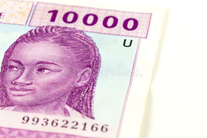 Close-up de uma única cédula da África Central do franco de 10000 CFA foto de stock royalty free