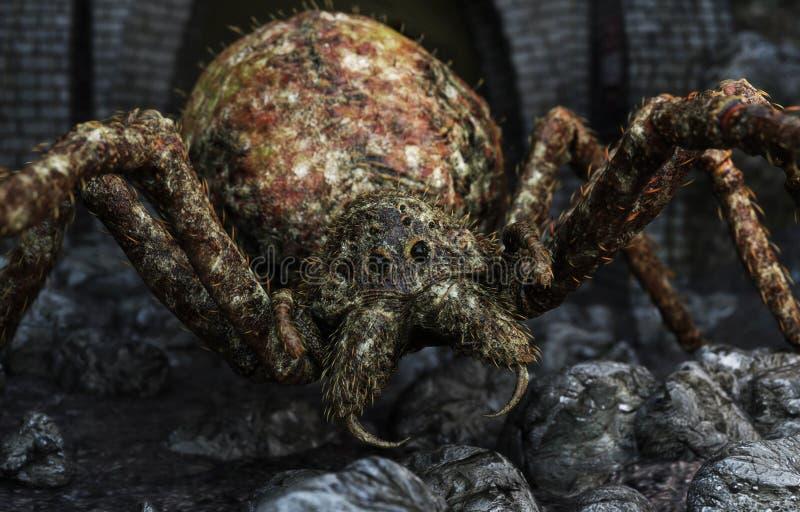 Close up de uma aranha gigante que fecha-se dentro em sua rapina ilustração royalty free