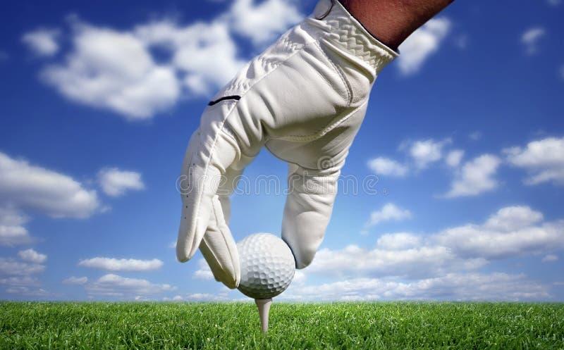 Close-up de uma esfera de golfe imagens de stock