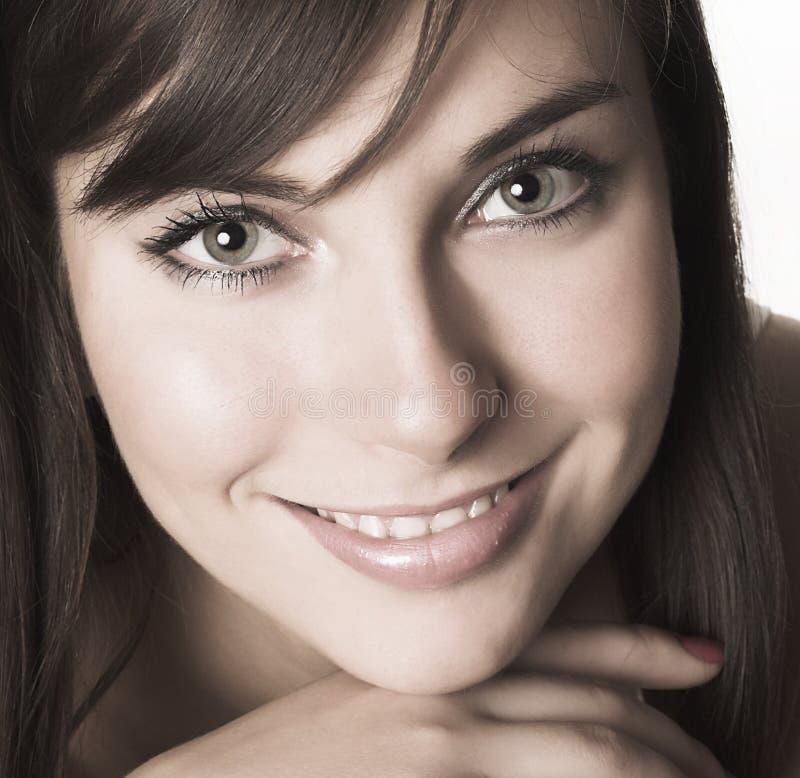 Close-up de uma face bonita fotografia de stock