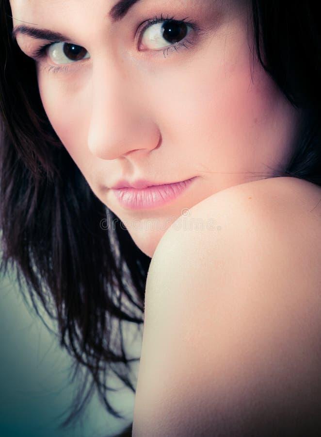 Close up de uma menina bonita fotografia de stock