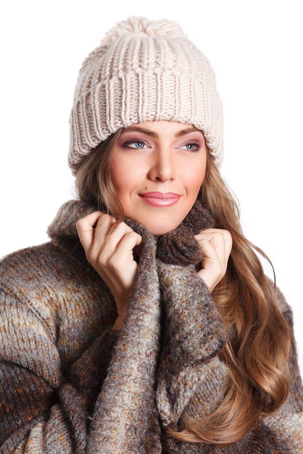 Close up de uma mulher bonita isolada no branco foto de stock