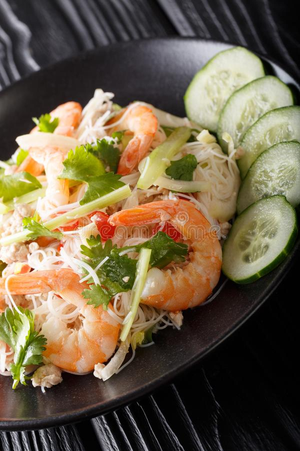 Close up de vidro de Yum Woon Sen da salada do macarronete na placa vertical fotografia de stock