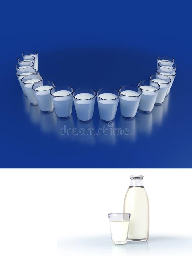 Close-up de vidros de leite com reflexões Cuidados dentários da ilustração e dentes bonitos do sorriso Zombaria acima do vidro e  ilustração do vetor