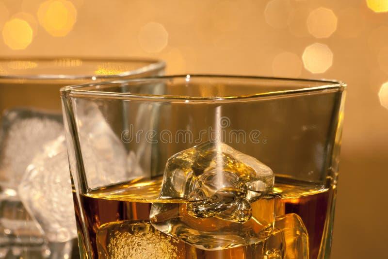 Close-up de vidros do uísque fotos de stock royalty free