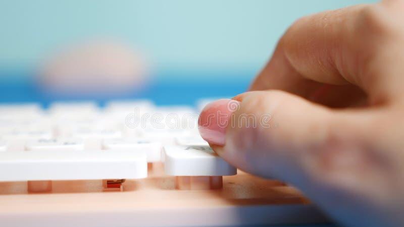 Close-up De vrouwelijke handen typen op een roze toetsenbord, op een blauwe achtergrond royalty-vrije stock foto's