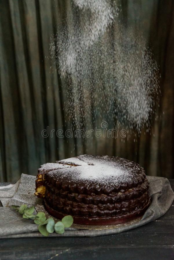 Covering chocolate cake with sugar powder. Close up decorating chocolate cake with sugar powder. Dark vintage stillife stock images