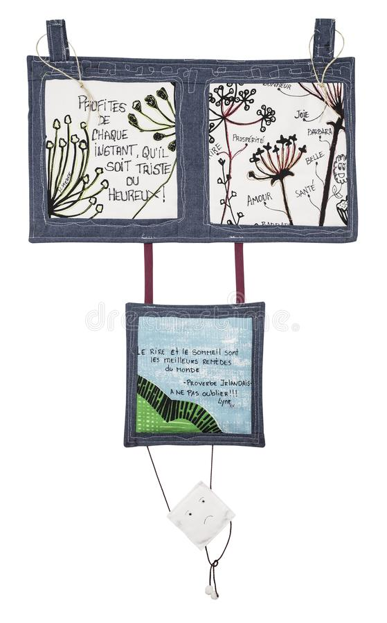 Decoration Quilt with words. Close up of Decoration Quilt with words to be hang on a wall stock photo