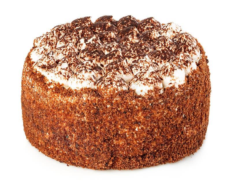 Close-up delicioso do bolo isolado em um fundo branco foto de stock